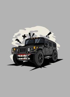 Desenho de personagem de carro monstro preto de ilustração off road