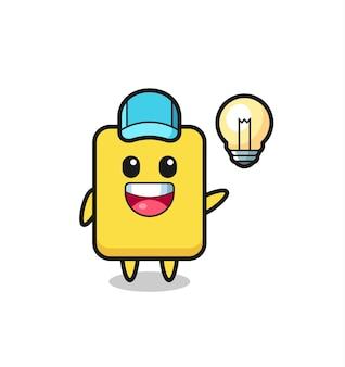 Desenho de personagem de cartão amarelo tendo a ideia, design de estilo fofo para camiseta, adesivo, elemento de logotipo