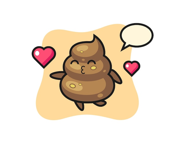 Desenho de personagem de cocô com gesto de beijo, design de estilo fofo para camiseta, adesivo, elemento de logotipo