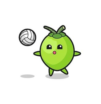 Desenho de personagem de coco está jogando vôlei, design de estilo fofo para camiseta, adesivo, elemento de logotipo