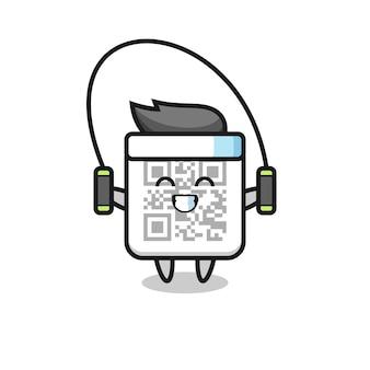 Desenho de personagem de código qr com corda para pular, design fofo