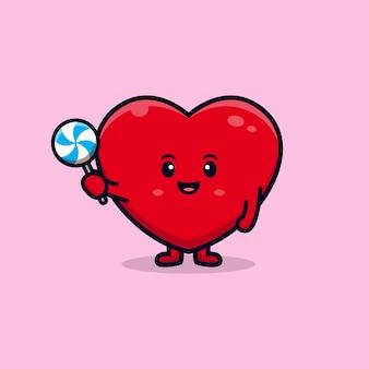 Desenho de personagem de coração fofo segurando pirulito doce ilustração mascote plana