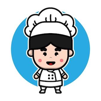 Desenho de personagem de desenho animado de chef menino fofo