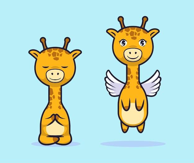 Desenho de personagem de desenho animado de girafa fofa
