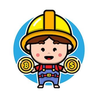 Desenho de personagem de desenho animado de mineiro de bitcoin fofo