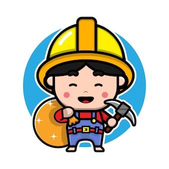 Desenho de personagem de desenho animado de mineiro fofo