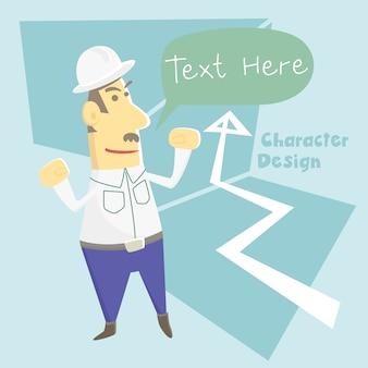 Desenho de personagem de desenho animado de trabalhador