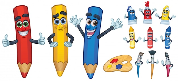 Desenho de personagem de desenho animado e ferramenta de pintura