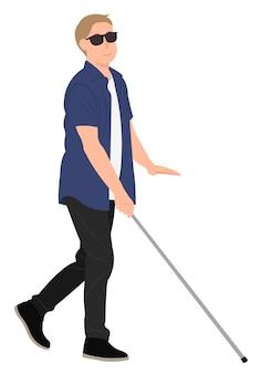 Desenho de personagem de desenho animado jovem cego andar com uma bengala. ideal para impressão e web design.