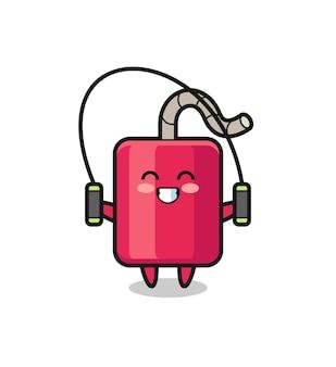 Desenho de personagem de dinamite com corda de pular, design de estilo fofo para camiseta, adesivo, elemento de logotipo