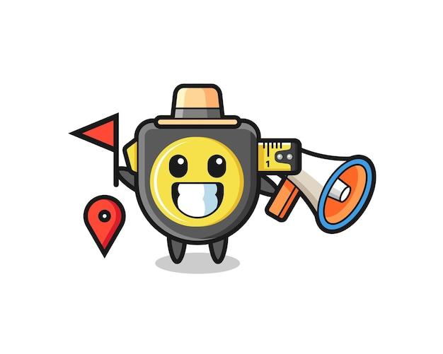 Desenho de personagem de fita métrica como guia turístico, design fofo