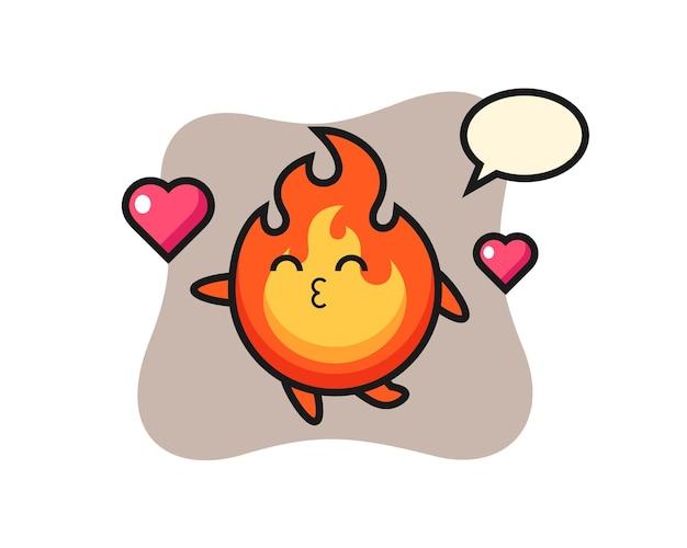 Desenho de personagem de fogo com gesto de beijo, design de estilo fofo para camiseta, adesivo, elemento de logotipo