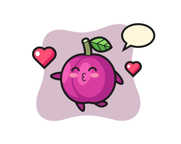 Desenho de personagem de fruta ameixa com gesto de beijo, design de estilo fofo para camiseta, adesivo, elemento de logotipo