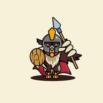 Desenho de personagem de gladiador fofo com coruja