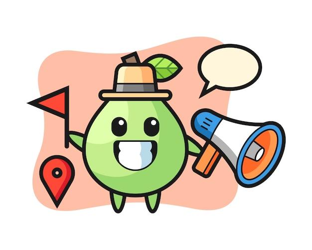 Desenho de personagem de goiaba como um guia de turismo, design de estilo bonito para camiseta, adesivo, elemento do logotipo