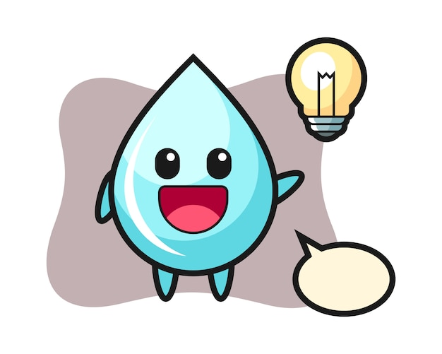 Desenho de personagem de gota de água recebendo a idéia, design de estilo bonito para camiseta