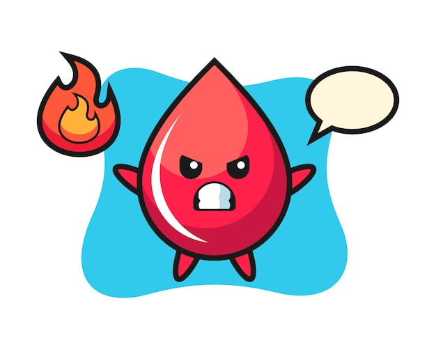 Desenho de personagem de gota de sangue com gesto de raiva, estilo fofo, adesivo, elemento de logotipo