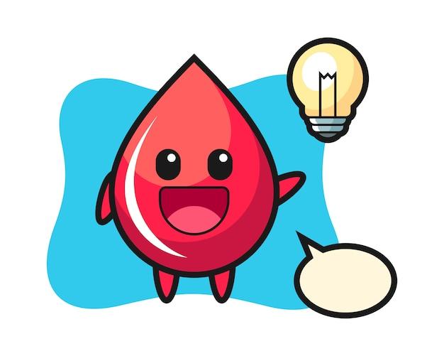 Desenho de personagem de gota de sangue tendo a ideia, estilo fofo, adesivo, elemento de logotipo
