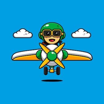 Desenho de personagem de macaco fofo com o tema jogando um avião
