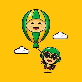 Desenho de personagem de macaco fofo com o tema jogando um balão de ar