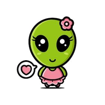 Desenho de personagem de mascote alienígena fofo