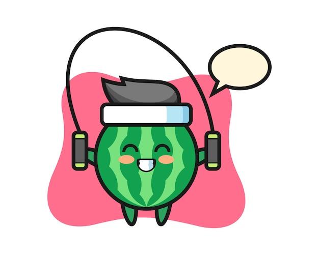 Desenho de personagem de melancia com pular corda