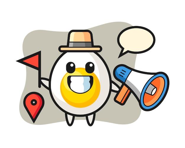 Desenho de personagem de ovo cozido como um guia turístico