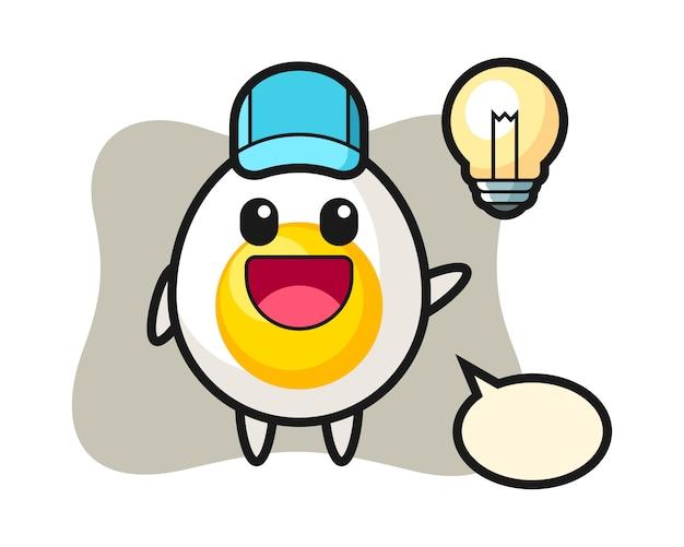 Desenho de personagem de ovo cozido, tendo a idéia