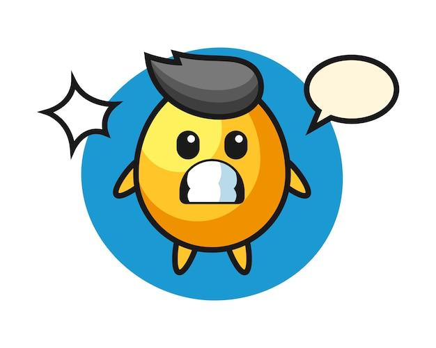 Desenho de personagem de ovo de ouro com gesto chocado, design de estilo bonito