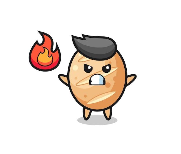Desenho de personagem de pão francês com gesto de raiva, design fofo