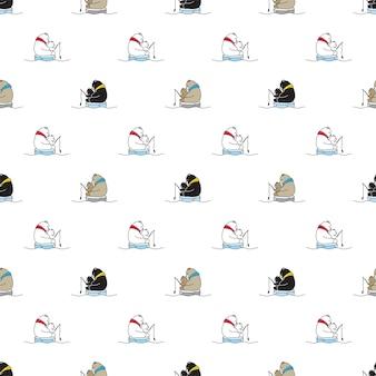 Desenho de personagem de pesca polar com padrão sem emenda