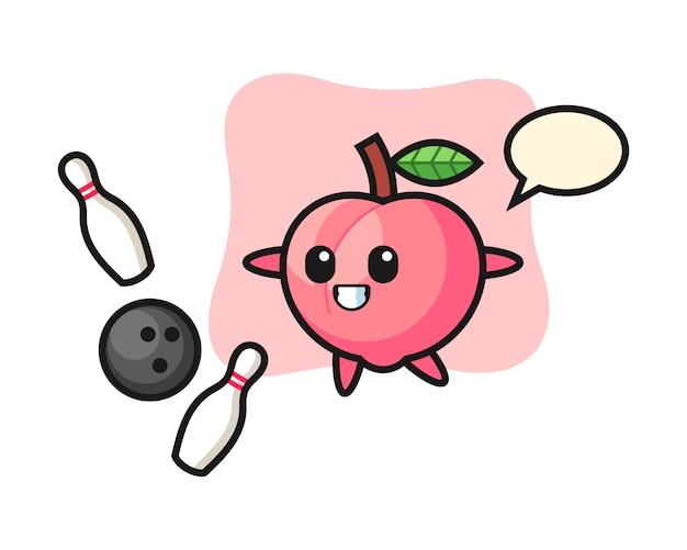 Desenho de personagem de pêssego está jogando boliche, design de estilo bonito para camiseta