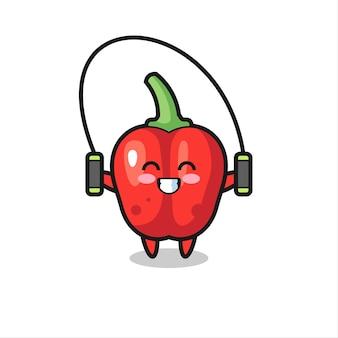 Desenho de personagem de pimentão vermelho com corda para pular '' '' '' '' '' '' '' '' '' '/
