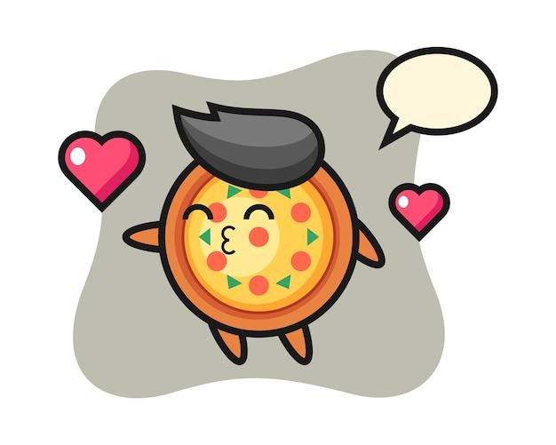 Desenho de personagem de pizza com gesto de beijo