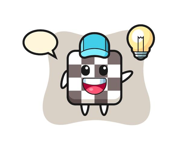 Desenho de personagem de tabuleiro de xadrez tendo a ideia, design de estilo fofo para camiseta, adesivo, elemento de logotipo