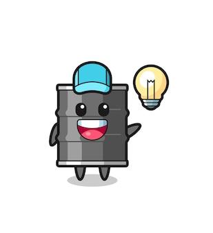 Desenho de personagem de tambor de óleo tendo a ideia, design fofo