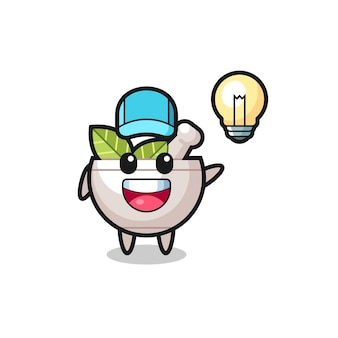 Desenho de personagem de tigela de ervas tendo a ideia, design de estilo fofo para camiseta, adesivo, elemento de logotipo