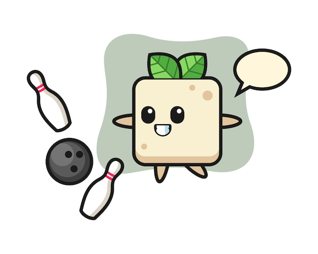 Desenho de personagem de tofu está jogando boliche, design de estilo bonito para camiseta