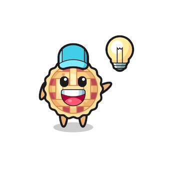Desenho de personagem de torta de maçã tendo a ideia, design de estilo fofo para camiseta, adesivo, elemento de logotipo