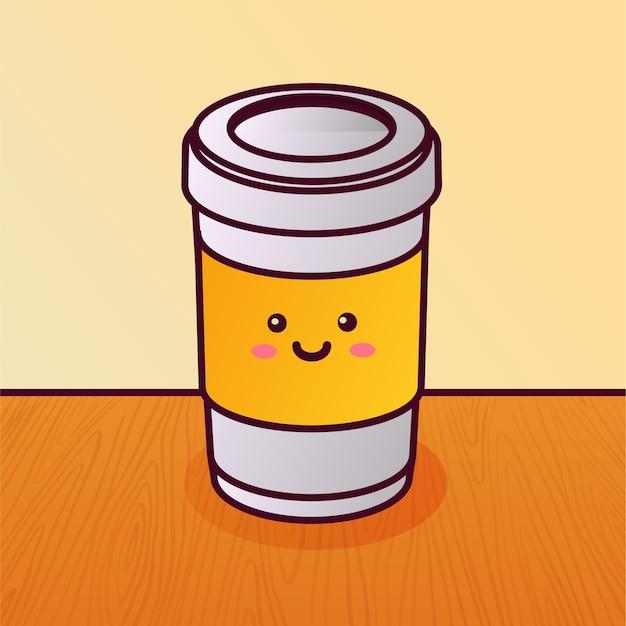 Desenho de personagem de xícara de café descartável