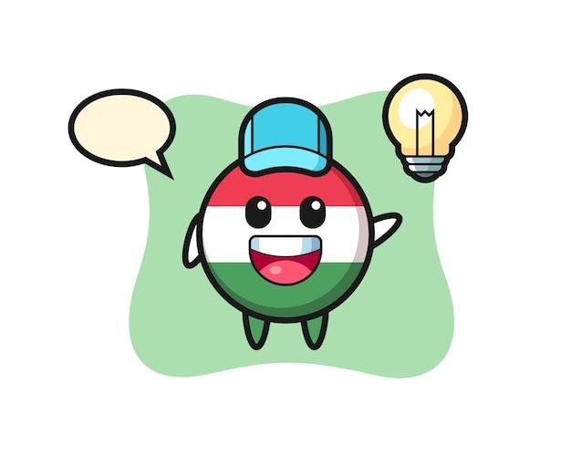 Desenho de personagem distintivo da bandeira da hungria tendo a ideia, design de estilo fofo para camiseta, adesivo, elemento de logotipo
