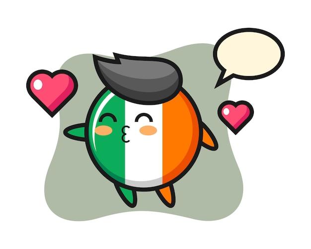 Desenho de personagem distintivo da bandeira da irlanda com gesto de beijo