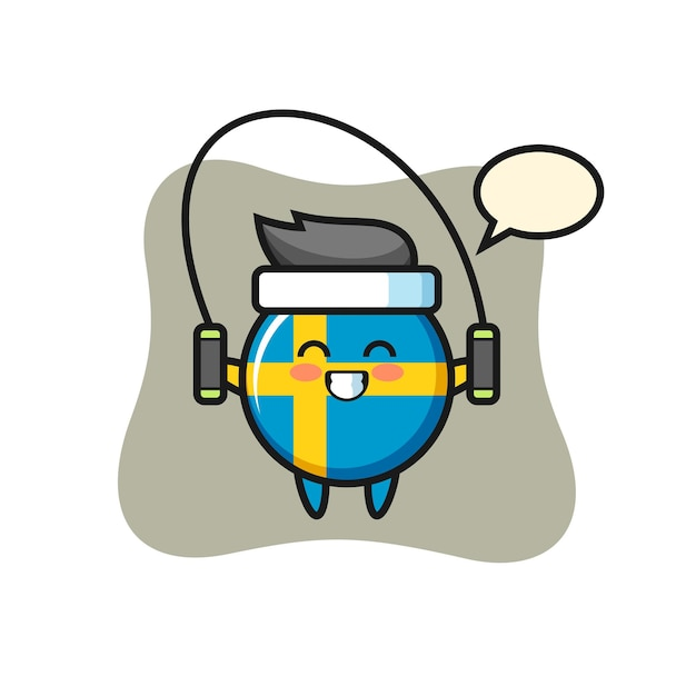 Desenho de personagem distintivo da bandeira da suécia com corda para pular, design de estilo fofo para camiseta, adesivo, elemento de logotipo