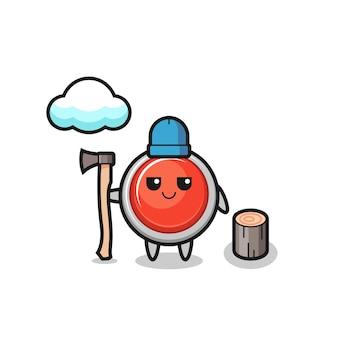 Desenho de personagem do botão de pânico de emergência como um lenhador, design bonito