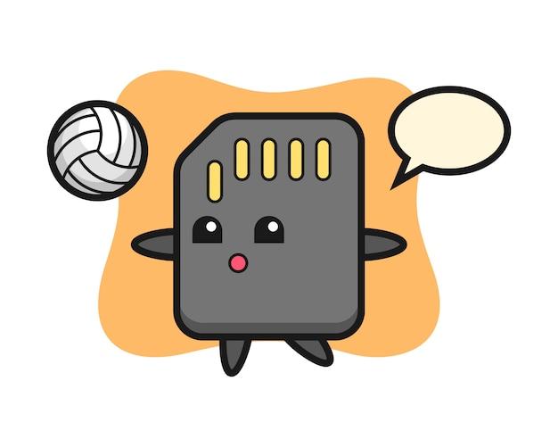 Desenho de personagem do cartão sd está jogando vôlei, design de estilo bonito para camiseta