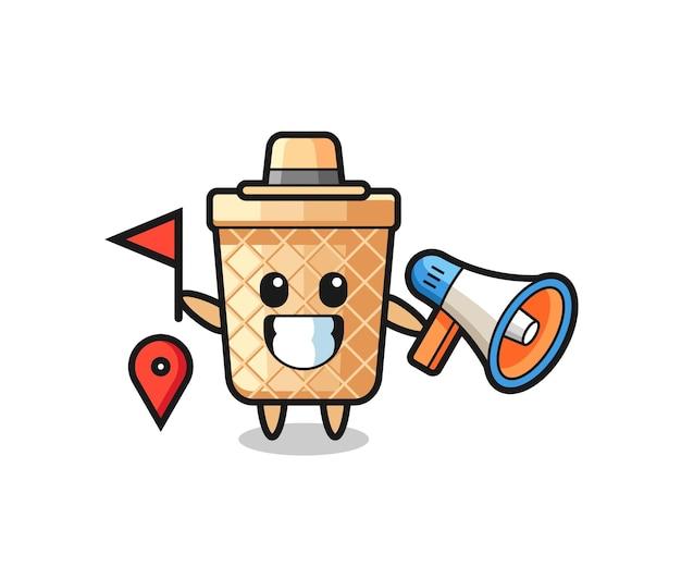 Desenho de personagem do cone waffle como guia turístico, design fofo