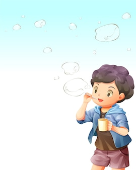 Desenho de personagem dos desenhos animados do menino soprando vetor de balões de sabão