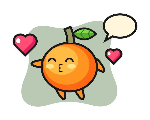 Desenho de personagem em laranja mandarim com gesto de beijo, estilo fofo, adesivo, elemento de logotipo