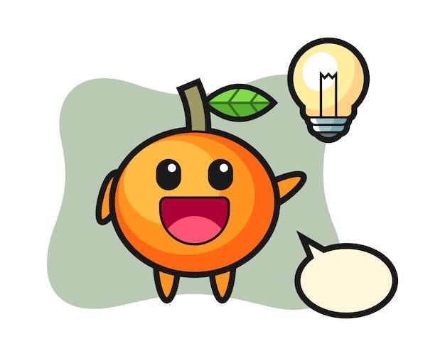 Desenho de personagem em laranja mandarim tendo a ideia, estilo fofo, adesivo, elemento de logotipo