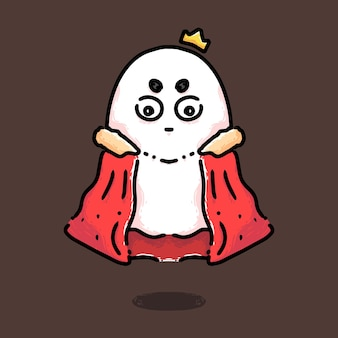 Desenho de personagem fofo rei fantasma real